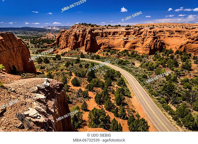 The USA, Utah, Kane County, Kodachrome Basin State Park, highway in the park, view from the Angel's Palace Trail