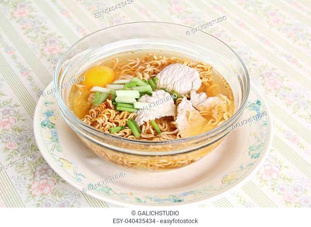 Instant noodles in a bowl