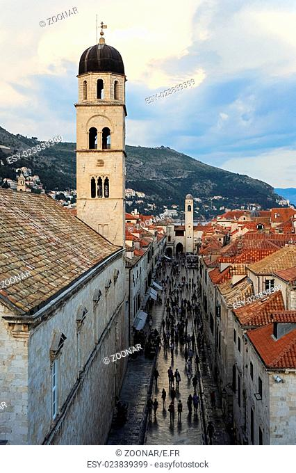 Stradun and Franciscan Monastery in Dubrovnik