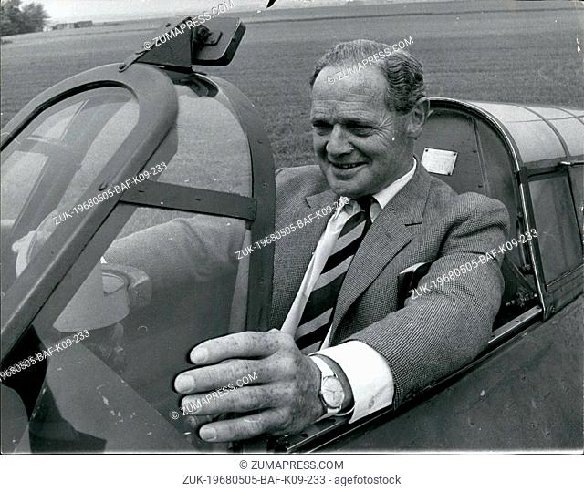 May 05, 1968 - Douglas Bader Visits Old Station: Group Captain Douglas Bader today paid a vuist to R.A.F. Duxford - his war time station - and looked over some...