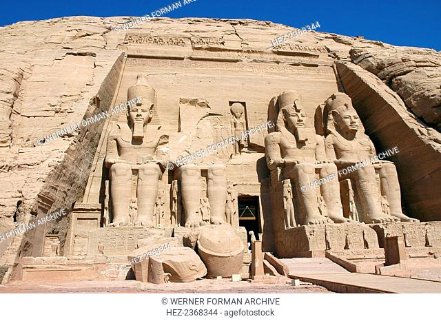Temple of Rameses II, Abu Simbel, Egypt. The great rock-cut Temple of Abu Simbel with its colossal statues was built during the reign of the pharaoh Rameses II...