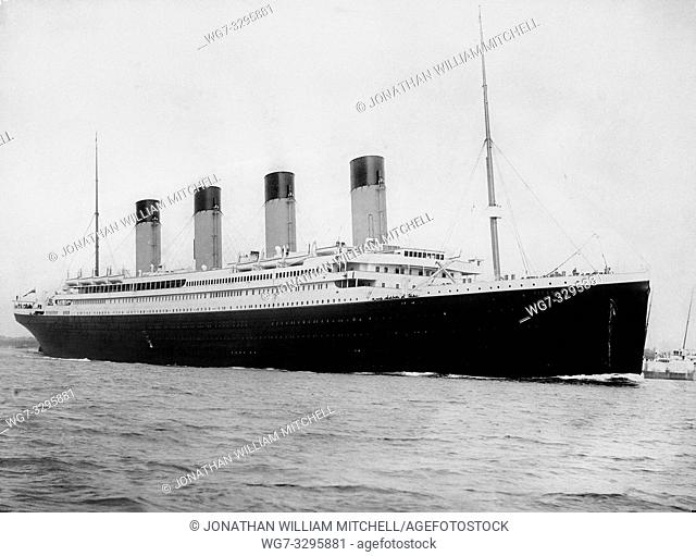 UK Southampton -- 12 Apr 1912 -- The RMS TITANIC in the Port of Southampton before her fateful voyage resulting in the most infamous maritime disaster of all...