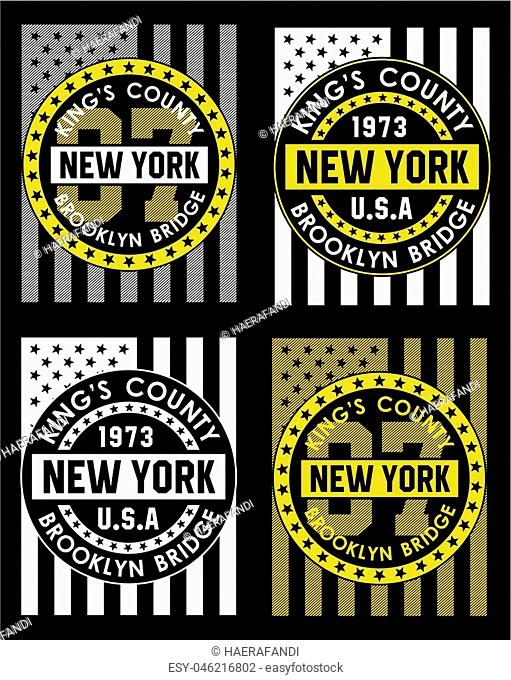 Typography design new York, T Shirt, emblem, Poster. Vector