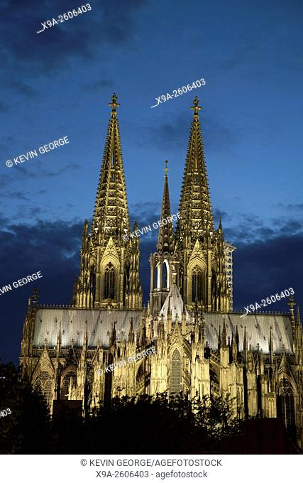 Facade of Cologne Cathedral, Germany Illuminated at Night