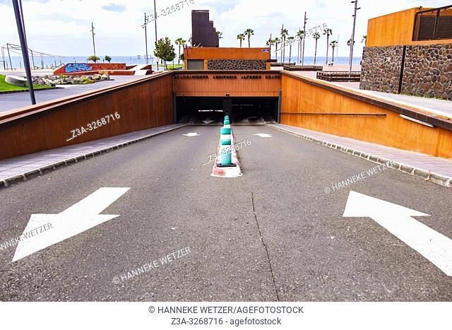 Parking exit in Las Palmas de Gran Canaria
