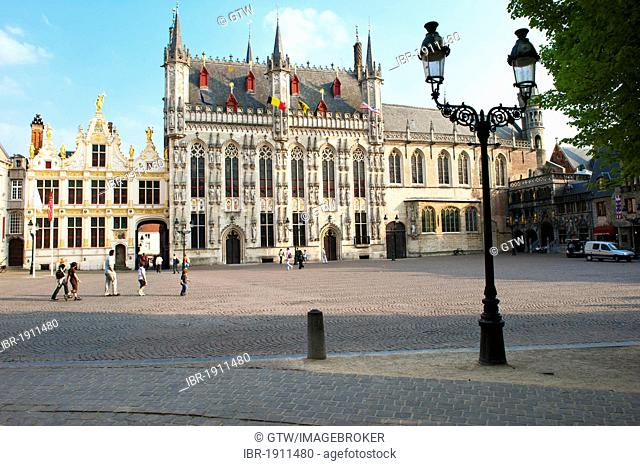 Castle Square and city hall, historic centre of Bruges, Unesco World Heritage Site, Belgium, Europe
