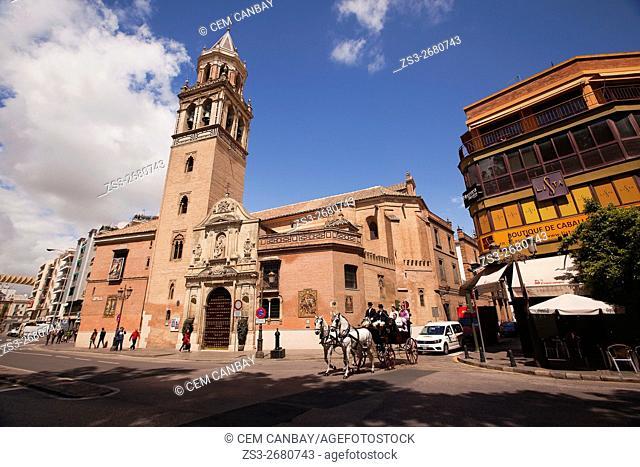 Horse-carriage near the Parroquia De San Pedro church, Seville, Andalusia, Spain, Europe