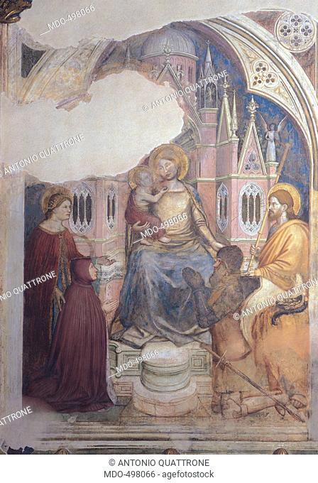 Madonna Enthroned and Donors, by Altichiero da Zevio, 1372 - 1379, 14th Century, fresco. Italy, Veneto, Padua, Basilica del Santo, San Giorgio Chapel