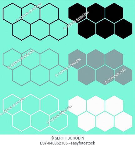Hexagon black grey white icon set