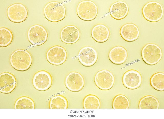 Cross sections of fresh lemons