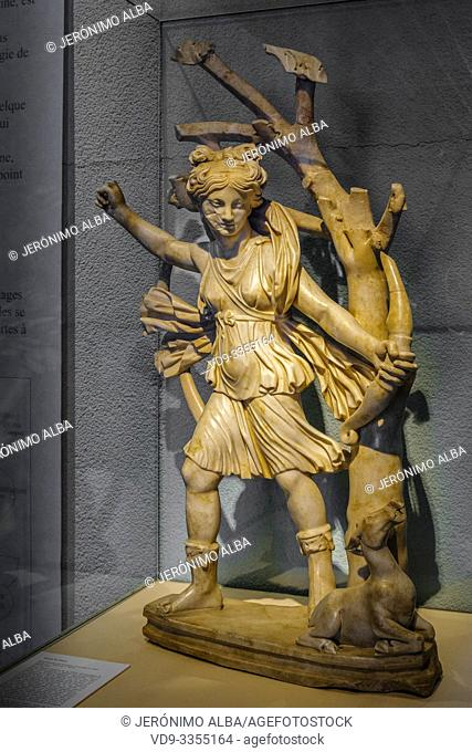 Statue of the Roman goddess Diana of Saint-Georges-de-Montagne. Roman rests room gallo Roman era, Musée d'Aquitaine, Aquitaine museum