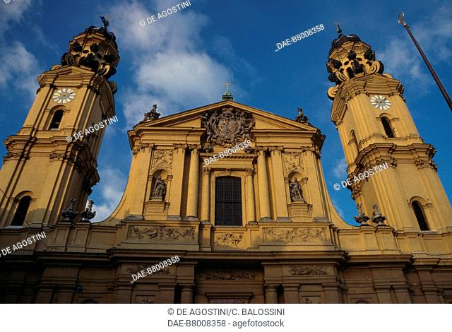 Facade of Theatine Church of St Cajetan (Theatinerkirche), Munich, Germany, 17th century. Detail