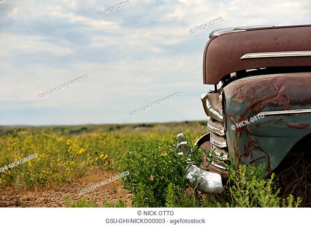 Old Abandonded Car in Field, Detail, Badlands National Park, South Dakota, USA