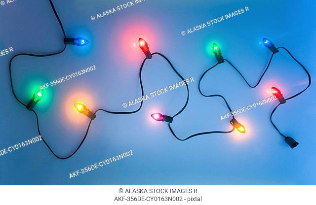 One black strand of multi-colored Christmas tree lights waving through white background with blue tint studio portrait