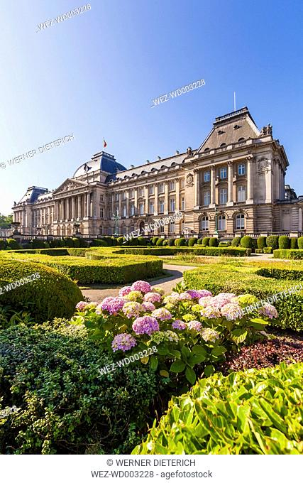 Belgium, Brussels, view to Palais du Roi with garden in the foreground