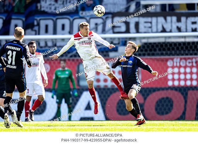 17 March 2019, North Rhine-Westphalia, Paderborn: Soccer: 2nd Bundesliga, SC Paderborn 07 - FC Ingolstadt 04, 26th matchday in the Benteler Arena