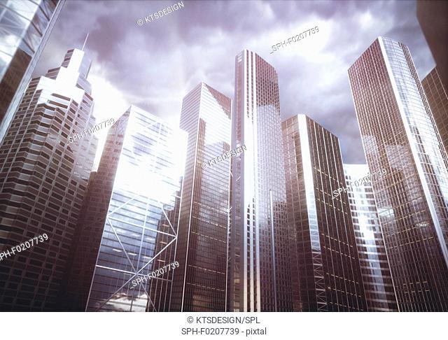 Modern skyscrapers, illustration