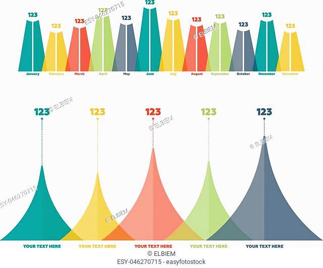 Infographics elements. Triangle bar chart vector illustration