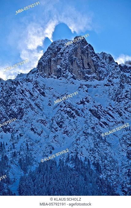 Winter storm, Bavaria, mountain, Brocken spectre, Germany
