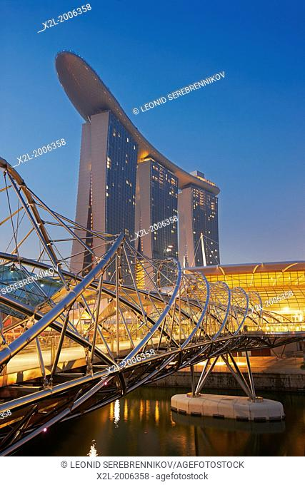 Helix Bridge and Marina Bay Sands Hotel, Singapore