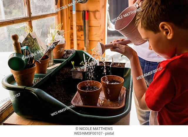 Father and son watering seeds