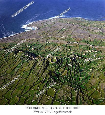 Myriad of Stone Walled Fields,. Inishmaan, The Aran Islands,. Off County Galway, Ireland