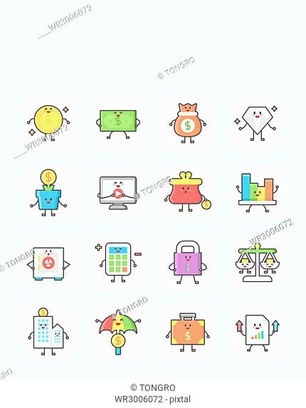 Icon set related to finance
