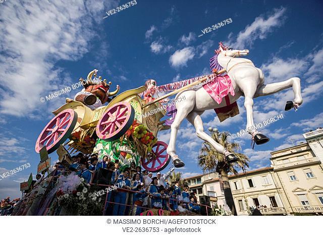 Italy, Toscana (Tuscany), Viareggio . Versilia - Carnevale (Carnival) di Viareggio (Carnevale d'Italia). A typical float