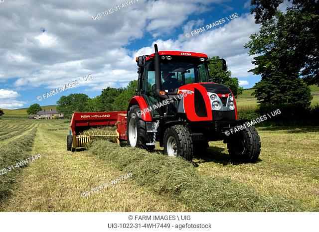 Baling hay in Upper Teesdale with a Zetor Proxima 75 tractor and flat 8 bale system. (Photo by: Wayne Hutchinson/Farm Images/UIG)