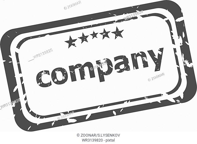 company on rubber stamp over a white background