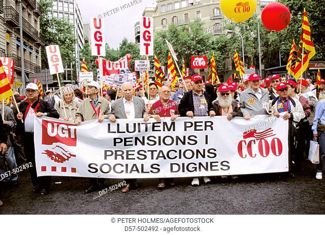 Spanish labor unions CC.OO. ('Comisiones Obreras') and UGT ('Unión General de Trabajadores') demonstration. Barcelona, Spain