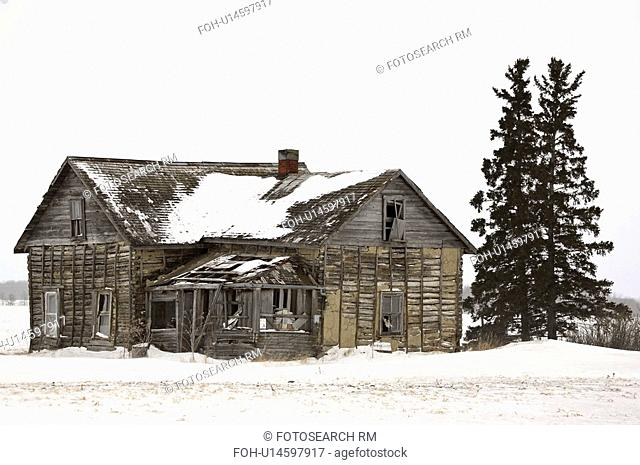 farm, derelict, winter, house, abandoned