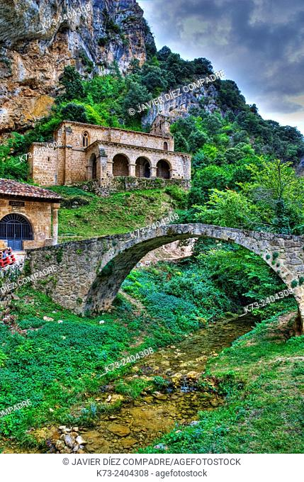 Mediaeval Bridge over Molinar River and Romanesque Chapel of Santa María de la Hoz (12th Century). Tobera. Frías. Burgos province. Castilla y Leon