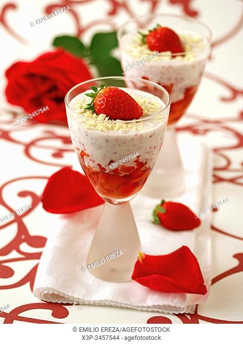 Strawberries with yogurt and roses