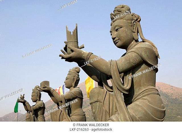 Three buddhistic statues under blue sky, Lantau Island, Hongkong, China, Asia