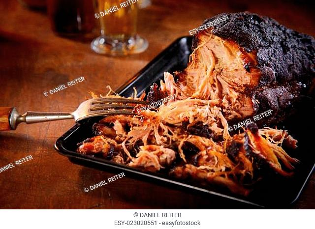 Appetizing Pulled Pork on Black Tray