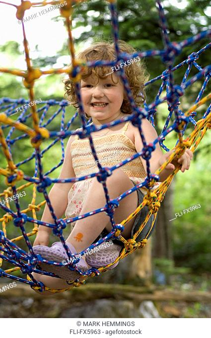 Little Girl Playing in Hammock, Saint John, New Brunswick