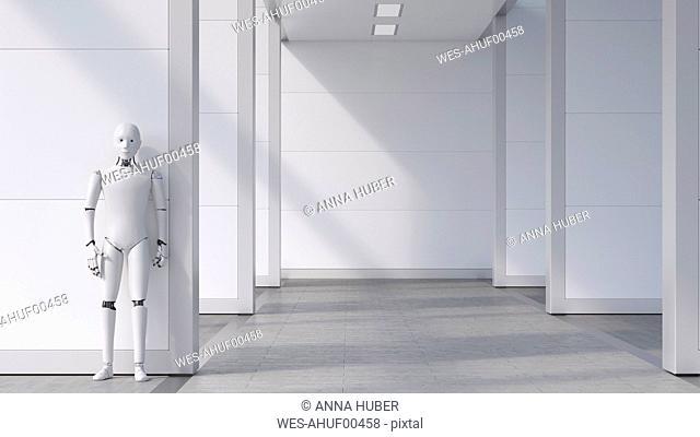 Robot standing in empty room, waiting