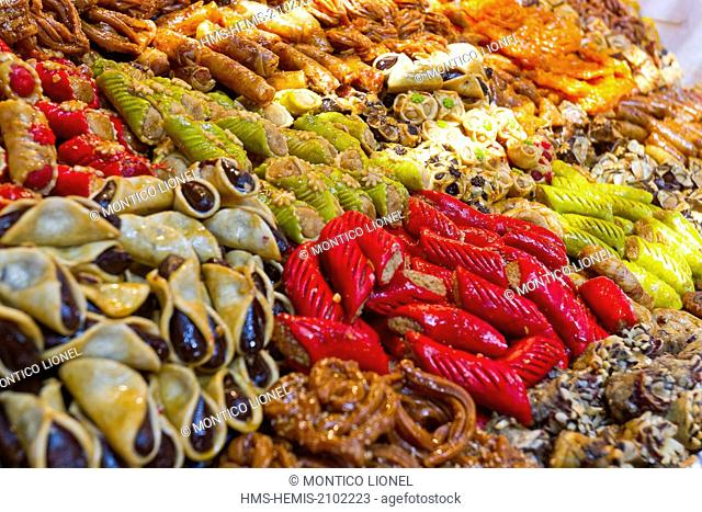 Morocco, High Atlas, Marrakech, imperial city, Medina listed as World Heritage by UNESCO, patisseries in the souks