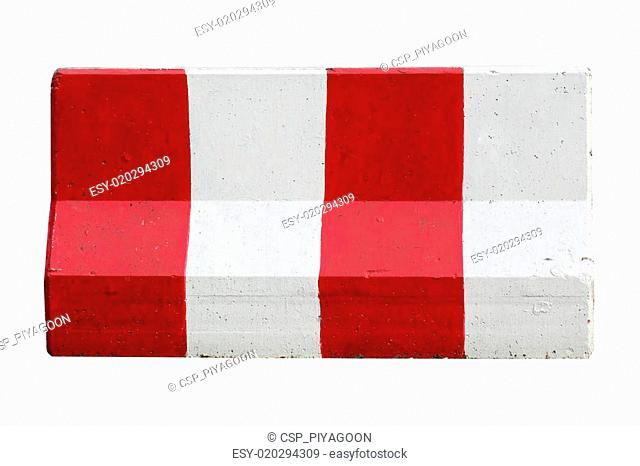 Red and white concrete barriers