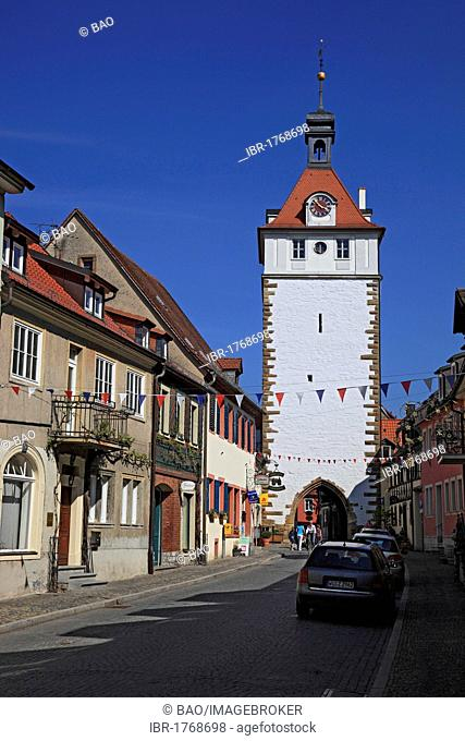 Town tower in Prichsenstadt, district of Kitzingen, Lower Franconia, Bavaria, Germany, Europe