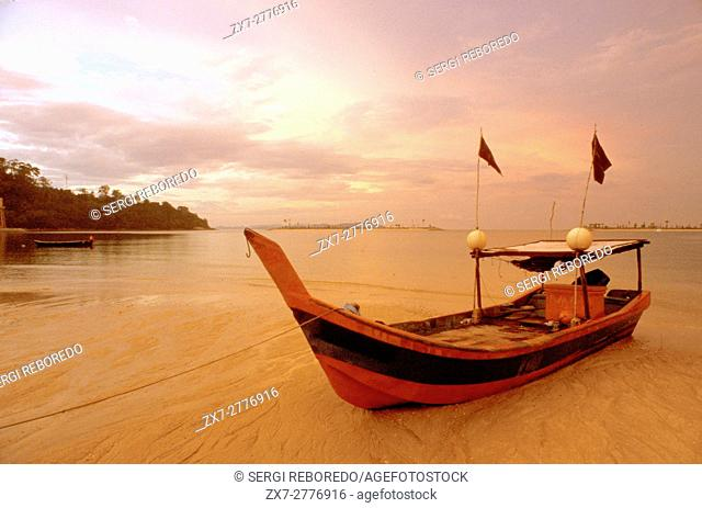 Fishing boat at Sunrise in Kuah beach, Langkawi lsland, Malaysia
