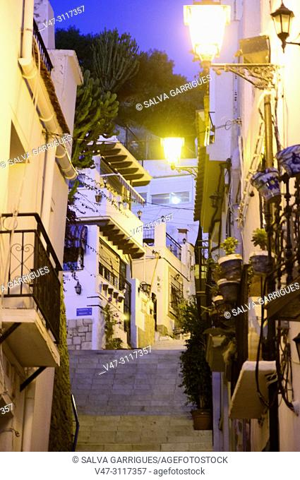 Street of the neighborhood of La Santa Cruz in Alicante, Valencia, Spain