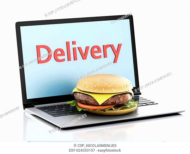 3d laptop. Online and Internet food delivery concept
