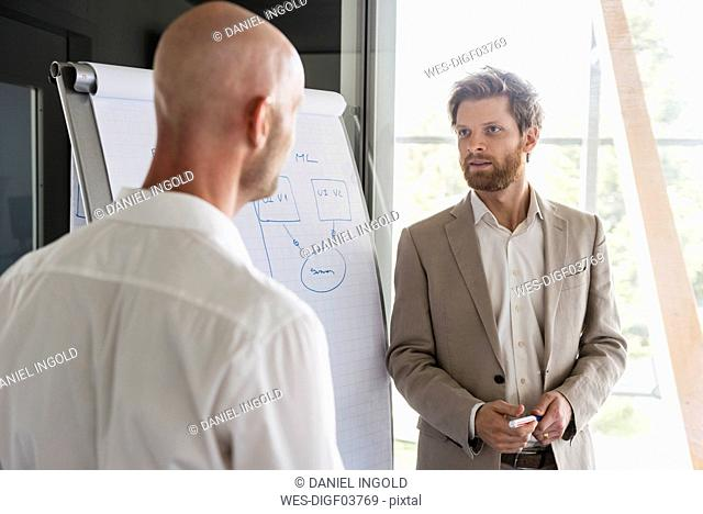 Two businessmen having a discussion at flipchart in office