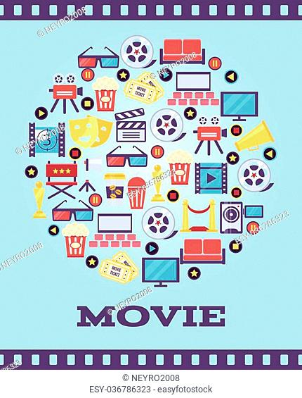 Movie Graphic Icons on Light Blue Background. A Simple I Love Movie Concept Graphic Design