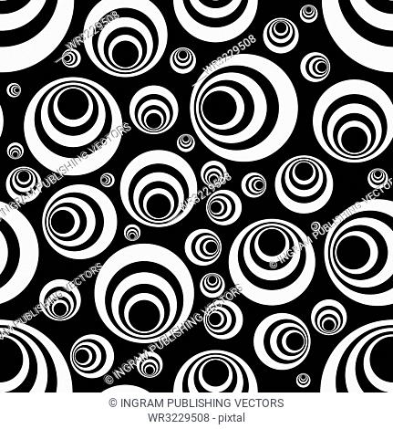 Seamless repeating tile design in black and white