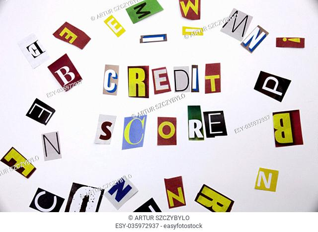A word writing text showing concept of Credit Score made of different magazine newspaper letter for Business case on the white background with space