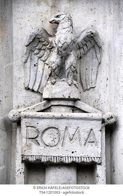 Roman eagle on a building in the Circus Maximus, Rome