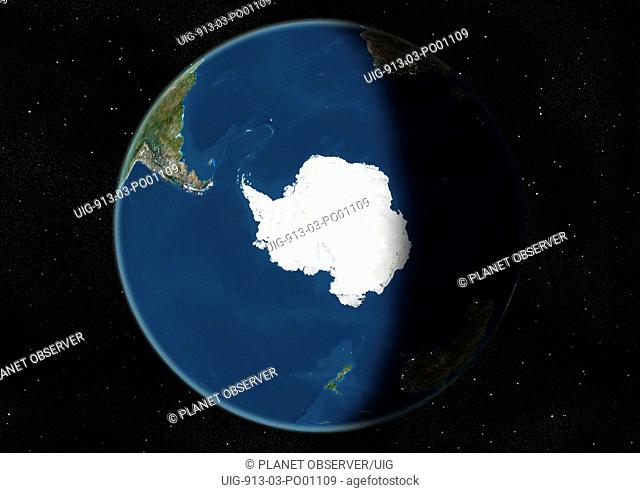 Globe Centred On The South Pole, True Colour Satellite Image. True colour satellite image of the Earth centred on the South Pole, during winter solstice at 6 p